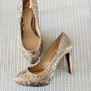 Gianni Bini Gold Sequin Platform Heels